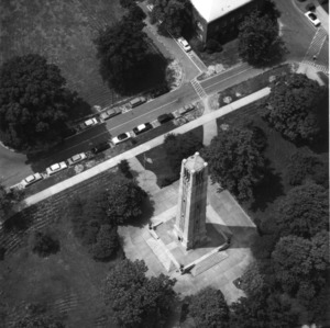 Aerial view of Memorial Bell Tower, North Carolina State College, summer 1958