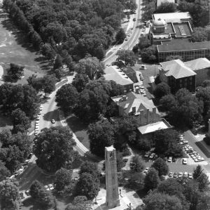 Aerial view of Memorial Bell Tower and North Carolina State College buildings along Pullen Road