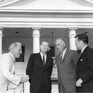 Chancellor John Caldwell, Reinard Harkema, L. L. Ray, and Bryce Younts at luncheon awarding Harkema