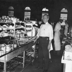 Louis H. Harris in College cafeteria