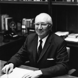 Dean H. Brooks James at his desk