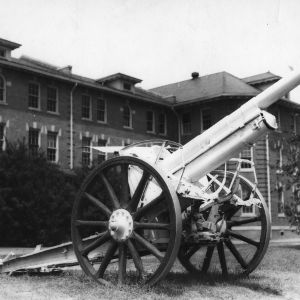 Cannon in front of the 1911 Building, North Carolina State College