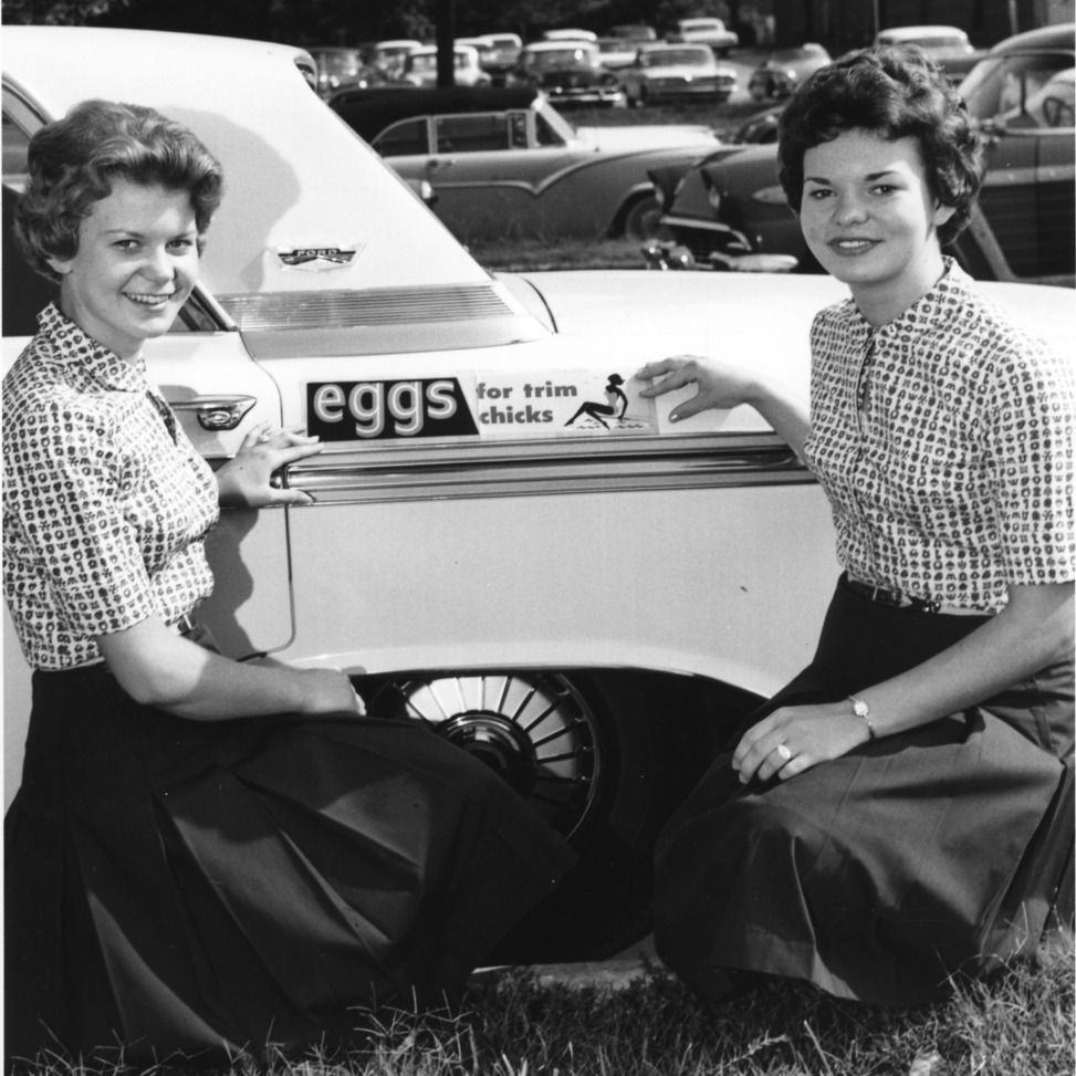 "Two young women, 4-H team demonstration members from Chatham County, North Carolina, posing by a bumper sticker on a car that reads, ""Eggs for trim chicks."""