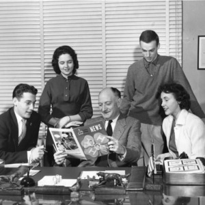 L. R. Harrill and 4-H officers, March 9, 1957.