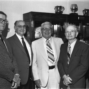 Charter members of the 4-H Honor Club at the 1981 dedication of the L. R. Harrill cases in the D. H. Hill Jr. Library archives