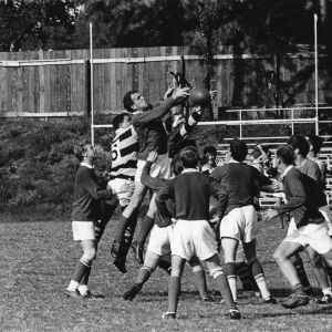 Rugby match between North Carolina State University Rugby Club and unidentified opponent.