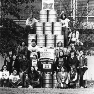 A world record tribute to consumption was erected Wednesday afternoon in Harris Field when the sudsy sisters of Sigma Kappa built a pyramid comprised of 140 kegs, representing 2,170 gallons of drained brew.