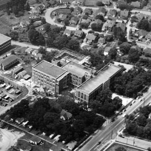 Nelson Hall, aerial view