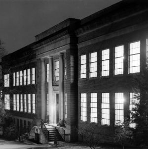 Page Hall at night
