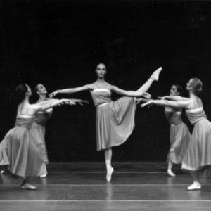Ballerinas dancing together onstage