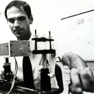 Associate Professor Thomas Dow uses a laser interferometer