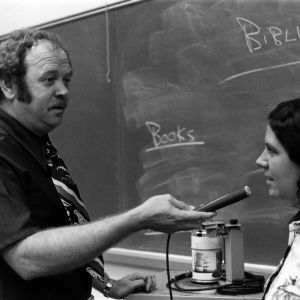 Bill Franklin of the Speech Department and student with tape recorder