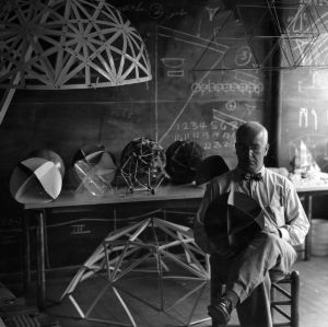R. Buckminster Fuller with his models of energetic geometry and dymaxion geodesic structures