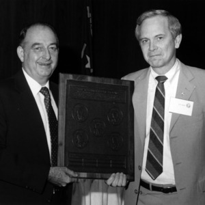 Dr. William Turner and Keith R. Harrod with plaque