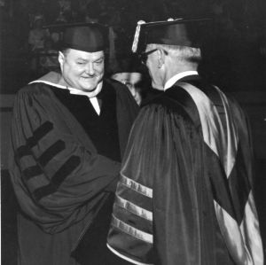 Charles S. Mitchell, N. C. State alumni and Citgo chairman of the board, receiving an honorary degree at 1966 graduation