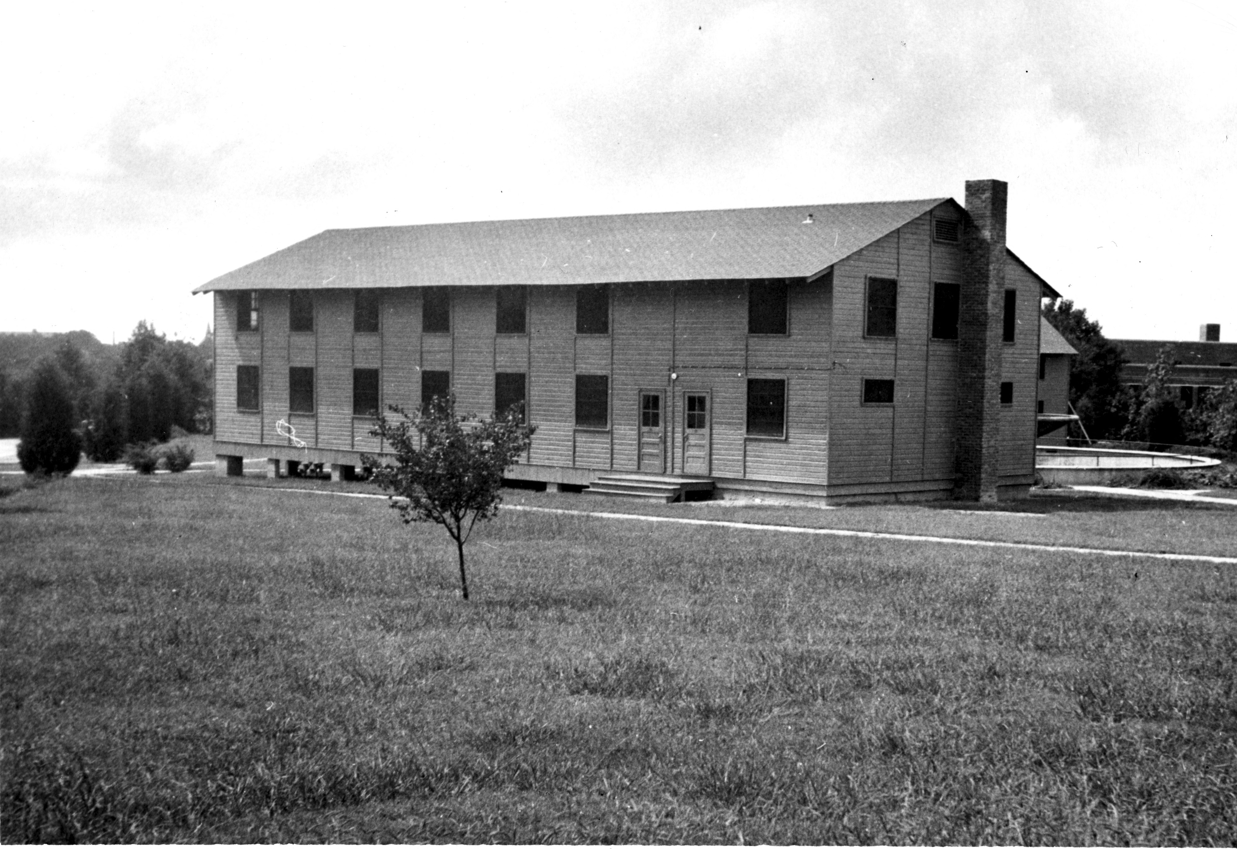 "View of temporary classroom building in ""Barracks Square"""