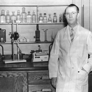 Professor George H. Satterfield in chemistry laboratory