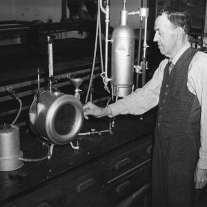 Professor Edgar E. Randolph in lab