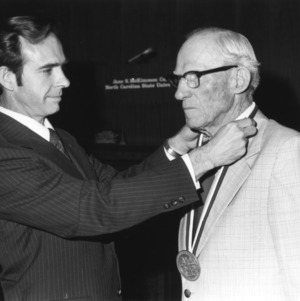 "Herman W. ""Pop"" Taylor, receiving Watauga Medal from Chancellor Joab Thomas"