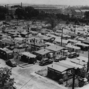 "Aerial view of Trailwood, North Carolina State College's ""City of Trailers"" on the western side of campus, which was established to provide temporary housing for married veterans of World War II."