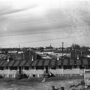 Bird's-eye view of Vetville, a village of pre-fabricated houses for Veterans coming to North Carolina State College after World War II.