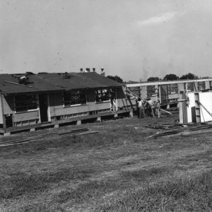 View of Vetville houses under construction.