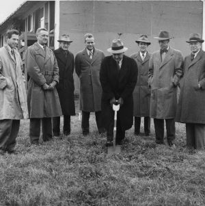 Ground breaking for the Vetville YMCA, November 1947.