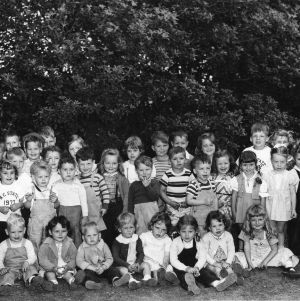 Group portrait of children attending the Totville Nursery, which served the families in Trailwood and Vetville, June 1949.
