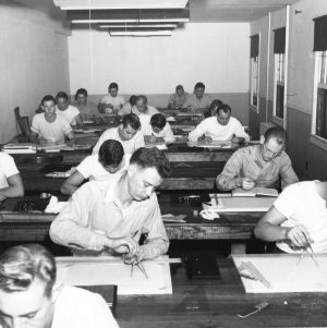 A class in naval architecture at the Morehead City Technical Institute of North Carolina State College