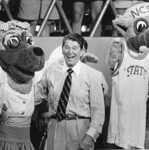 President Ronald Reagan posing with Mr. and Ms. Wuf, September 5, 1985