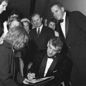 Leonard Bernstein signing at event