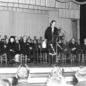 Clinton P. Anderson, U.S. Secretary of Agriculture, 1945-1948, speaking at North Carolina State College