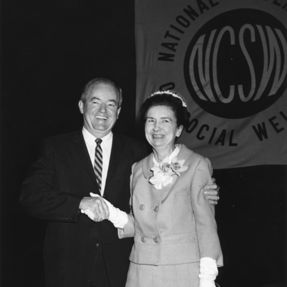 Dr. Ellen Black Winston, First Commissioner of Welfare in U.S. Department of Health, Education, and Welfare, pictured with U.S. Vice President Hubert Humphrey