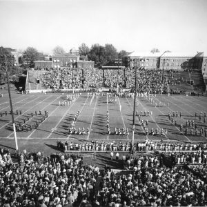 Riddick Stadium, with marching band
