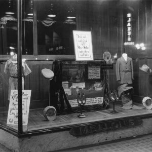 Display promoting drinking milk in window of Mellon's Department Store possibly in Charlotte, North Carolina.