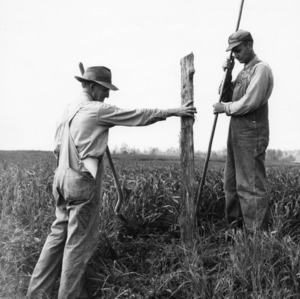 H. H. Forrest (left) and Alex Batteu (right) properly setting line post for cattle fence, New [At?] Farm, April 15, 1948.