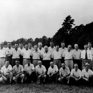 Group portrait of North Carolina test farm superindents taken at McCullers Branch Station, 1952.