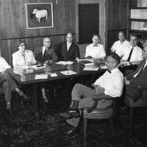 Administrators for Agricultural Extension Service, Agricultural Experiment Station, and School of Agriculture at conference table