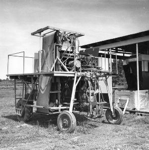 Experimental tobacco harvester.