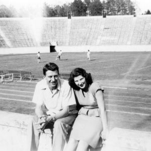 Basketball player Warren Cartier and Frances Holzer, his future wife, at Duke Football Stadium