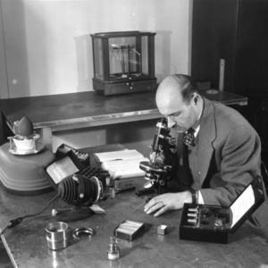 Mineral identification using powder techniques with the petrographic microscope (Graduate laboratory, Ceramic Engineering Department, N.C. State College -Albert D. Indyk), 1952 February