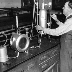 E. E. Randolph in lab