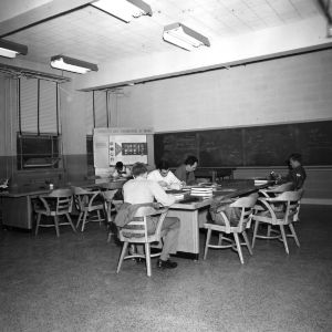 Chemical engineering student lounge, 1950s?