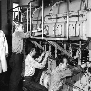 Diesel Engineering students working on diesel engine