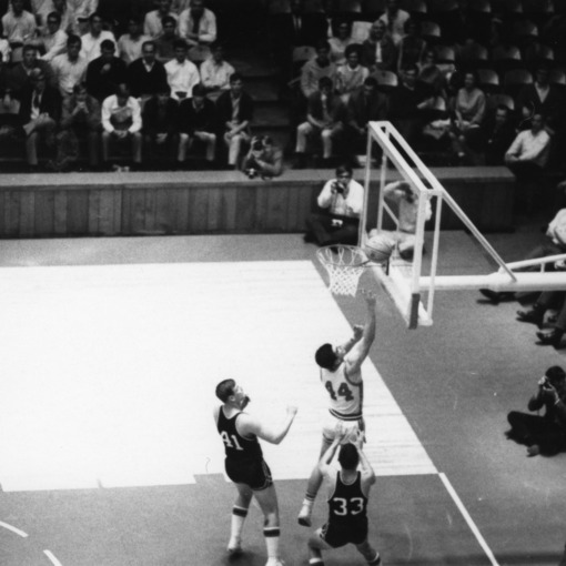 N.C. State makes a layup against Atlanta Christian, 1968