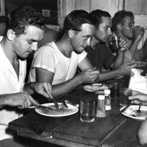 Forestry students eating lunch, ca. 1955 October.
