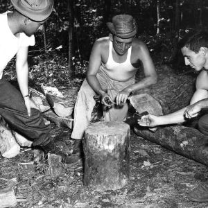 Forestry students lighting fuse attached to stump, ca. 1955 October.