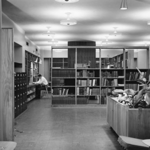 Interior of the Textiles Library at the NC State College School of Textiles