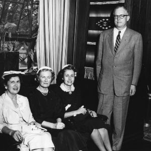Secretary of the Army Robert T. Stevens with three ladies during visit to the School of Textiles