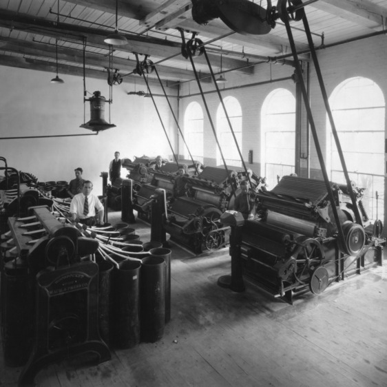 Card room, showing cards and drawing frames, Textile School, North Carolina State College, Raleigh, N.C.